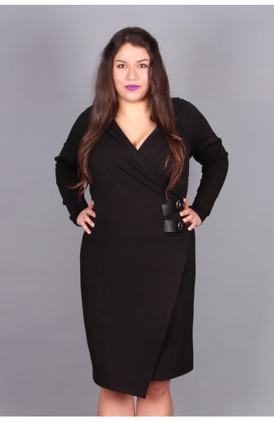 Czarna, marynarkowa sukienka