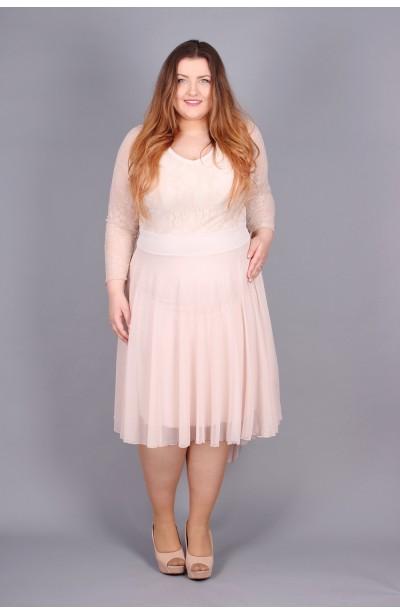 Romantyczna koronkowa sukienka - beżowa