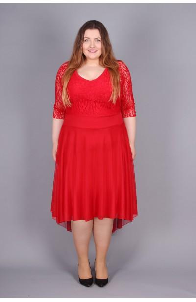 Romantyczna koronkowa sukienka - czerwień