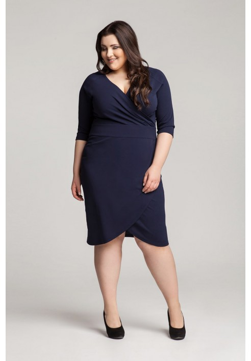 MONIQUE NAVY taliowana sukienka plus size