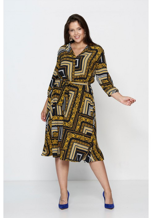 PETRA rozkloszowana sukienka plus size z paskiem
