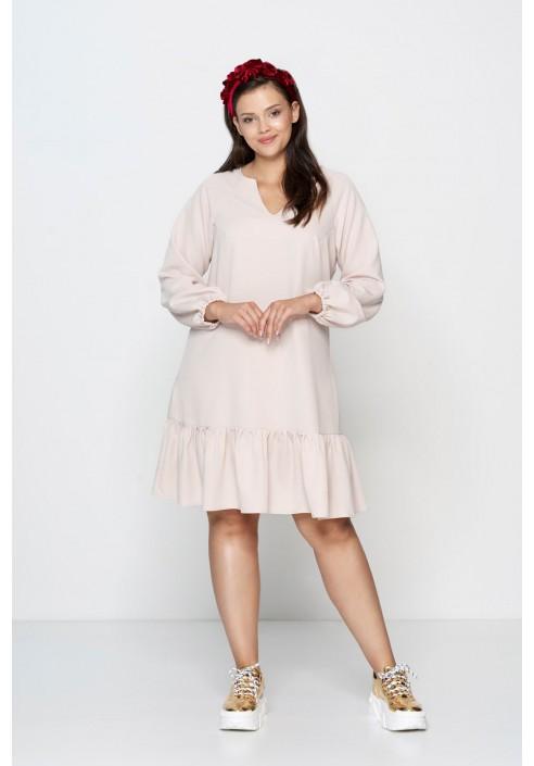 FLORA BEIGE rozkloszowana sukienka plus size