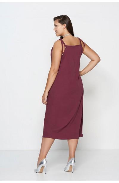 ALEGRA MARSALA prosta sukienka plus size