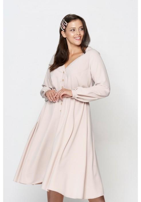 MELLISA BEIGE rozkloszowana sukienka plus size