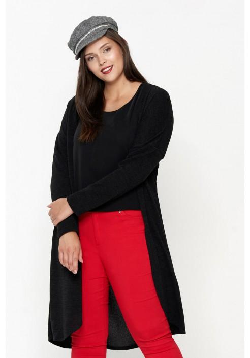 CHERRIN BLACK długi kardigan plus size na jesień