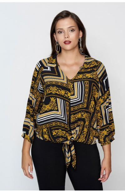 GIANNI modna koszula plus size z wiązaniem
