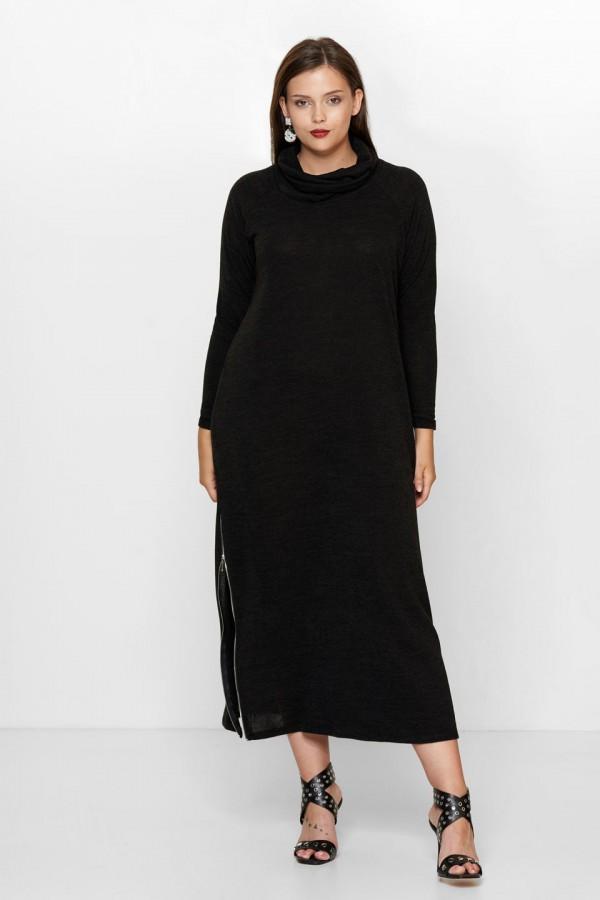 SIMONE BLACK długi sweter plus size z golfem
