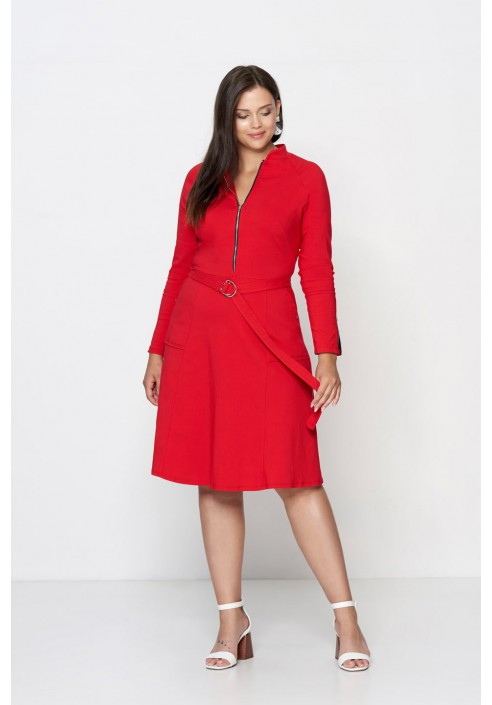 DEBRA RED minimalistyczna sukienka plus size