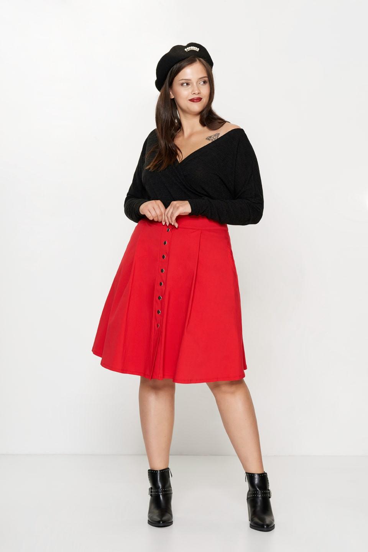 SONJA RED rozkloszowana spódnica plus size