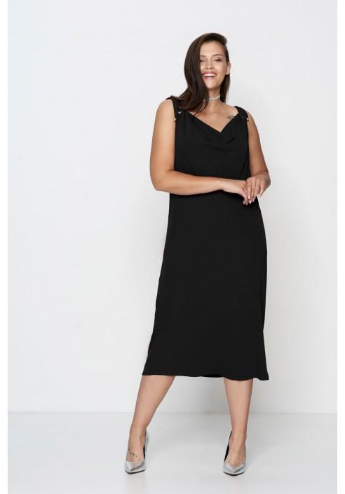 ALEGRA BLACK elegancka sukienka plus size