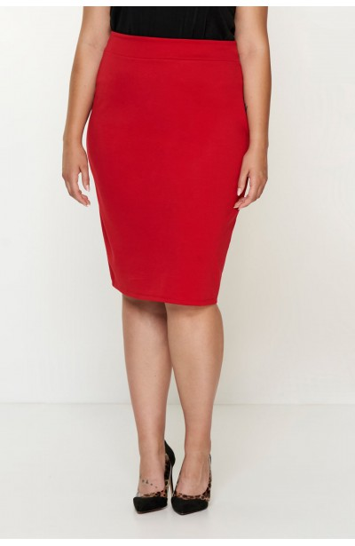 LENNA RED ołówkowa spódnica plus size z zamkiem