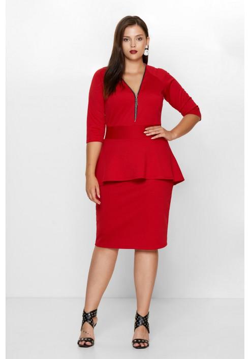 HOLLY RED elegancka sukienka plus size z baskinką