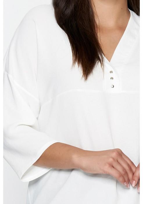 EVERLY ECRU minimalistyczna koszula plus size