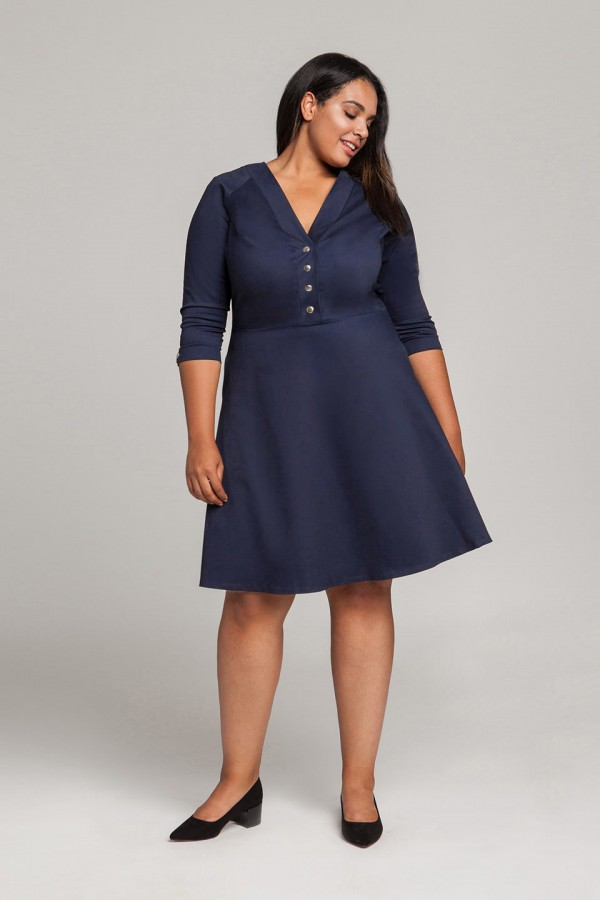 LOTTE NAVY sukienka plus size w stylu pin up