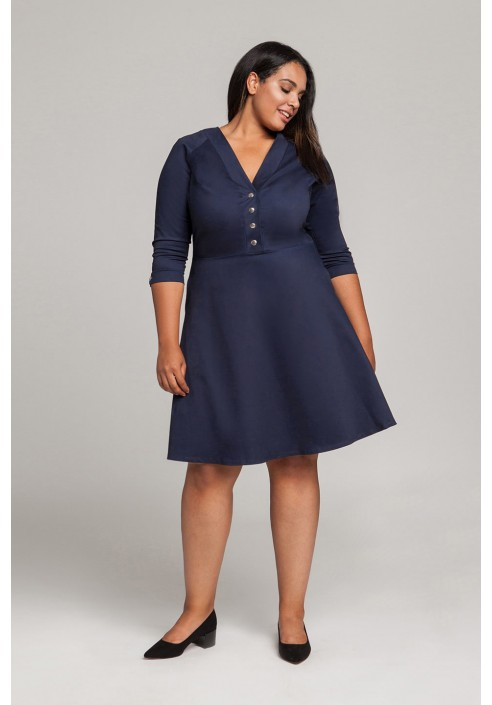 LOTTE NAVY sukienka plus size w stylu pin up