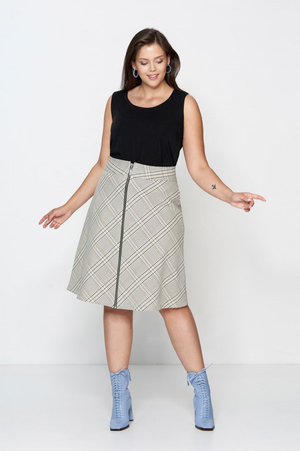 POSH minimalistyczna spódnica plus size w kratę