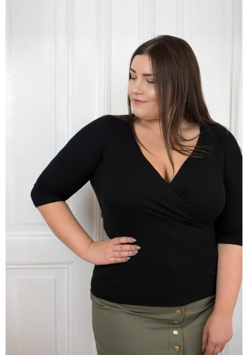 TIA BLACK bluzka plus size z kopertowym dekoltem
