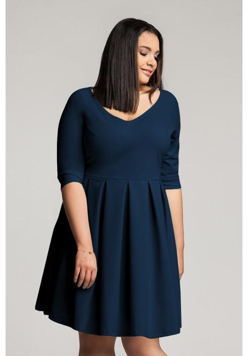 ROSA NAVY rozkloszowana sukienka plus size