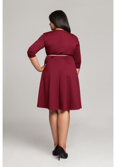 SIENNA WINE rozkloszowana sukienka plus size