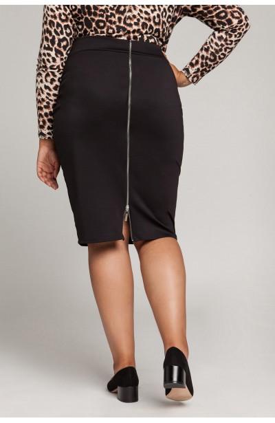 LENNA BLACK ołówkowa spódnica plus size z zamkiem