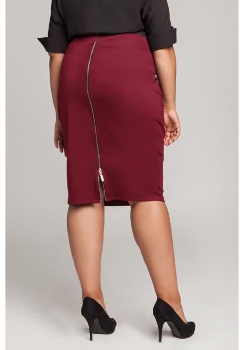 LENNA WINE ołówkowa spódnica plus size z zamkiem