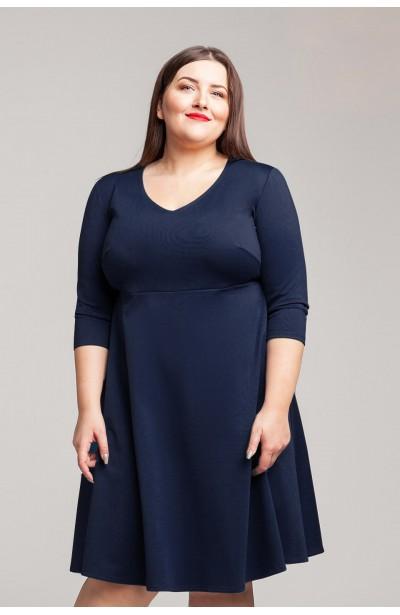 SIENNA NAVY rozkloszowana sukienka plus size