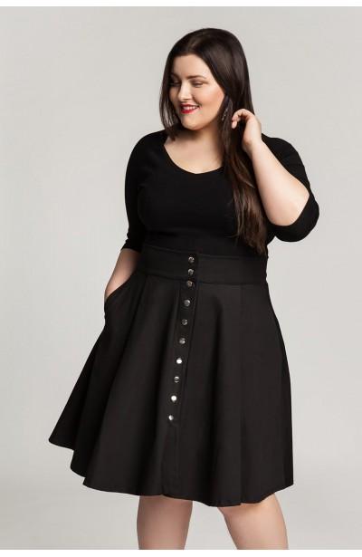 SONJA BLACK rozkloszowana spódnica z kieszeniami