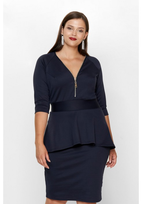 HOLLY NAVY elegancka sukienka plus size z baskinką