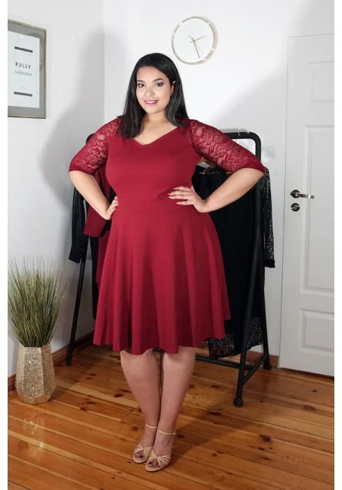 AUDREY WINE rozkloszowana sukienka plus size