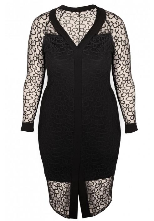 ISABEL BLACK koronkowa sukienka plus size