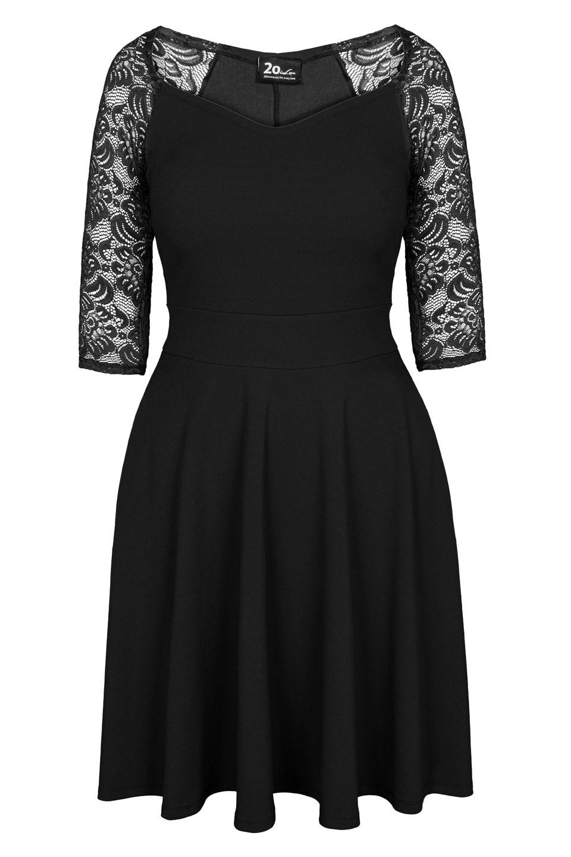 AUDREY BLACK rozkloszowana sukienka plus size