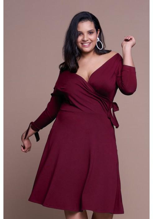 MIKA WINE rozkloszowana sukienka plus size