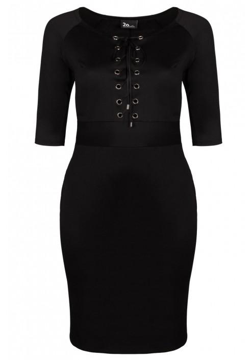 AISHA BLACK sukienka plus size z wiązanym dekoltem