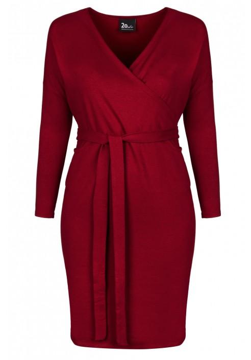 ELIZA WINE wygodna sukienka plus size z paskiem