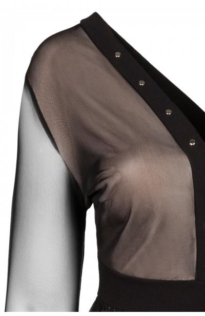 MATILDA BEIGE tiulowa sukienka plus size
