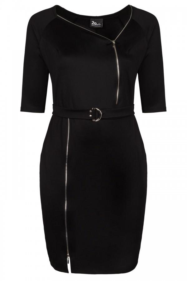 ERIKA BLACK sukienka plus size z zamkami