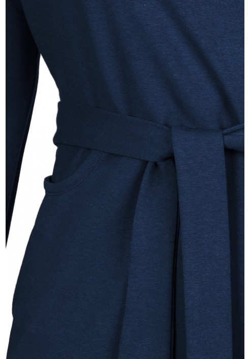 ELIZA NAVY wygodna sukienka plus size z paskiem