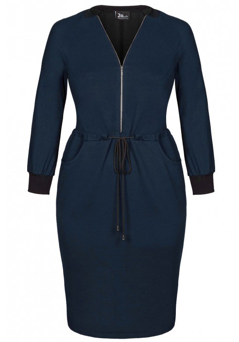 DAKOTA NAVY dresowa sukienka plus size