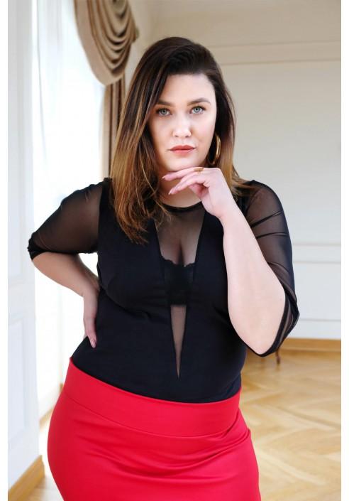 EMORY BLACK seksowne body plus size z siateczką