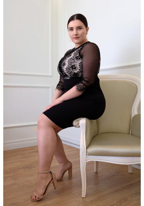 DEYNA BEIGE ołówkowa elegancka sukienka plus size