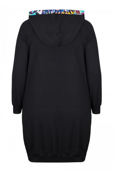 JOVITA BLACK długa rozpinana bluza plus size