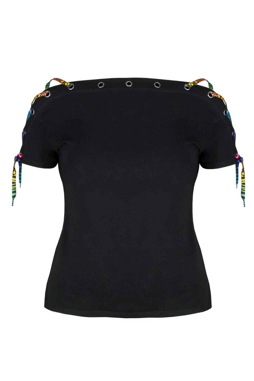 BONITA BLACK modny top plus size z wiązaniem
