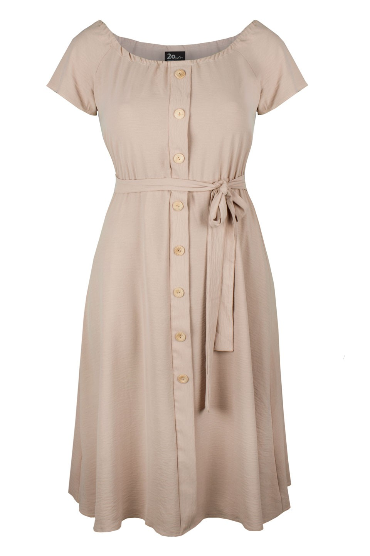CAMILLA BEIGE zwiewna sukienka plus size na lato
