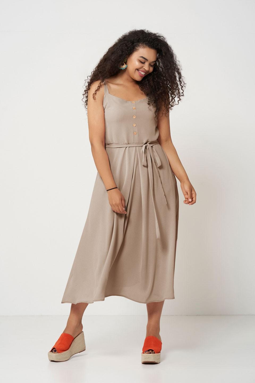 VIVIEN BEIGE zwiewna sukienka plus size na lato