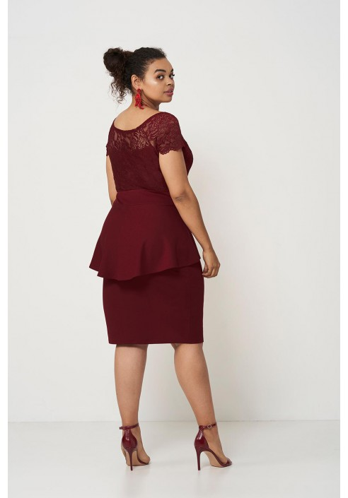 HELLEN WINE elegancka sukienka z baskinką
