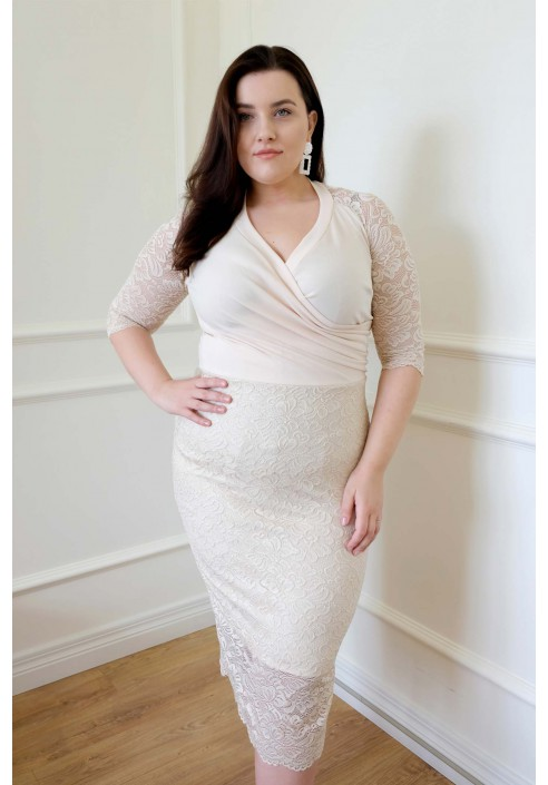 FRANCESS BEIGE elegancka sukienka plus size