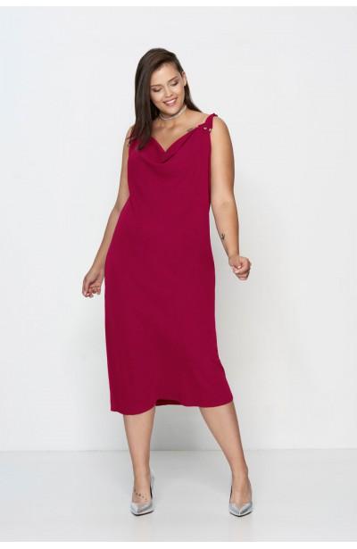 ALEGRA FUKSJA prosta długa sukienka plus size