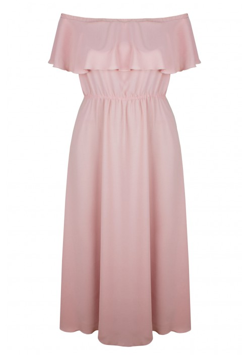 OLIMPIA PINK długa sukienka plus size z falbaną