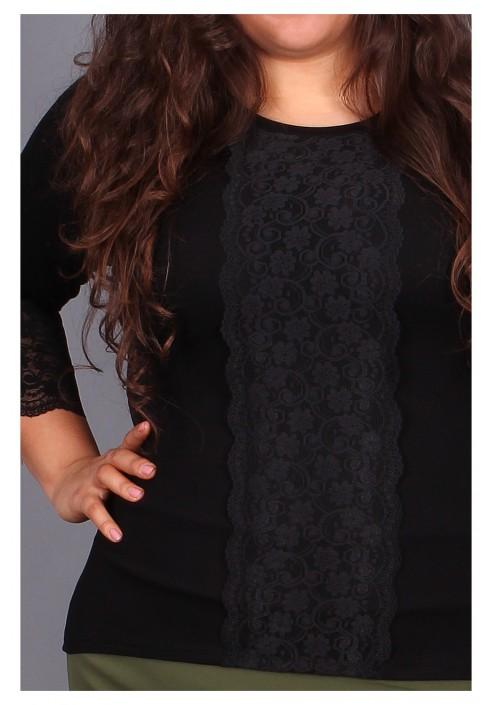 Czarna bluzka z koronkowymi wstawkami