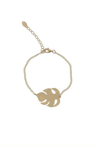 LEAF BRAN GOLD pozłacana bransoletka z liściem